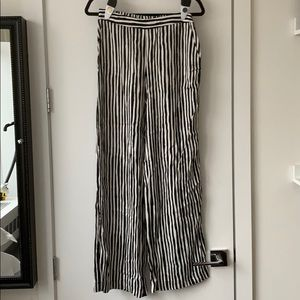 Black and White Striped Trousers